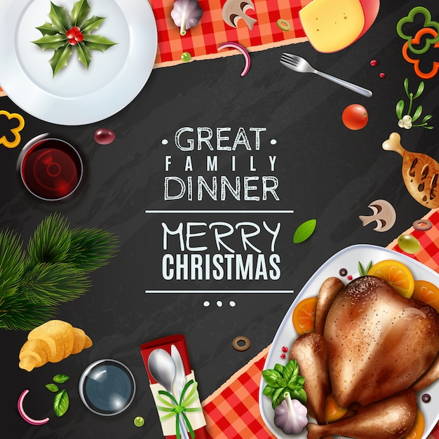 Realistic turkey thankgiving day christmas frame Free Vector