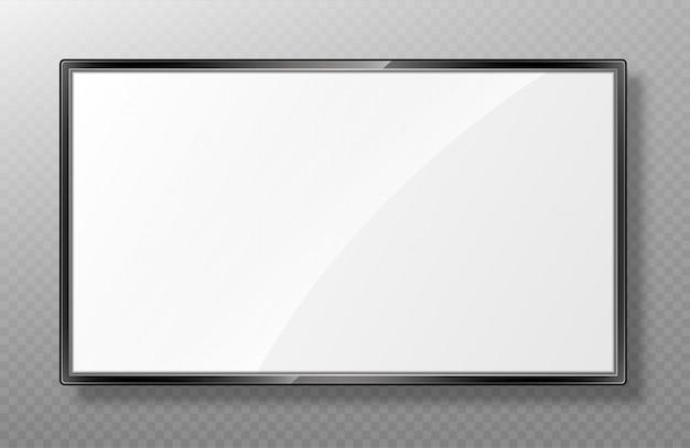 Реалистичный макет экрана телевизора. современная жк-панель, изолированная на прозрачном Premium векторы