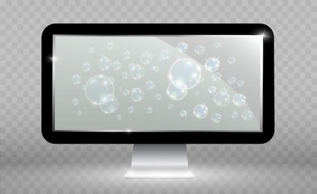 Реалистичный экран телевизора. современная стильная жк-панель. большой дисплей монитора компьютера. Premium векторы