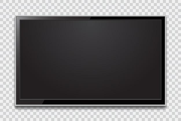 Реалистичный экран телевизора. современная стильная жк-панель, светодиодный тип. большой макет монитора компьютера Premium векторы