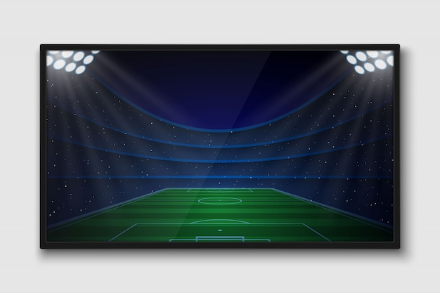 Realistic tv screen. modern television lcd panel with soccer match Premium Vector