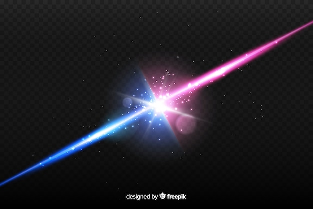 Realistic two lights collision effect Free Vector