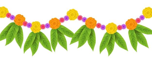 リアルなウガディの花輪イラスト 無料ベクター