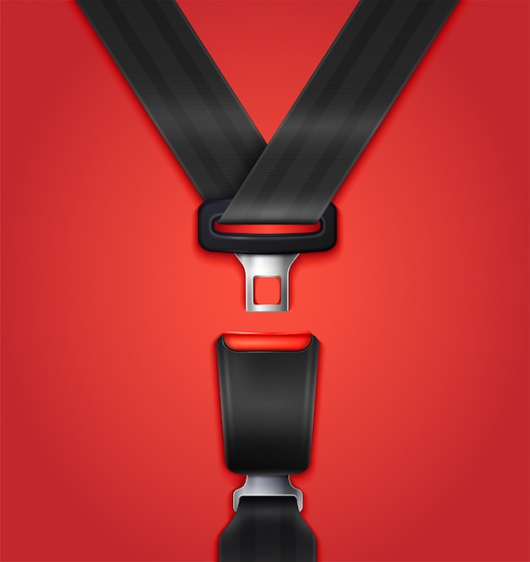 Realistic unblocked passenger seat belt with fastener and black strap illustration Free Vector