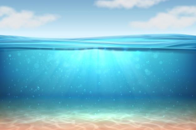 Premium Vector Realistic Underwater Background Ocean Deep Water Sea Under Water Level Sun Rays Blue Wave Horizon