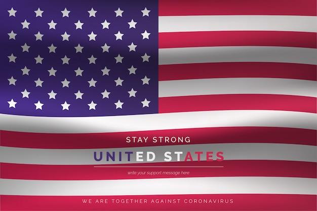 Bandiera degli stati uniti realistica con messaggio di supporto Vettore gratuito