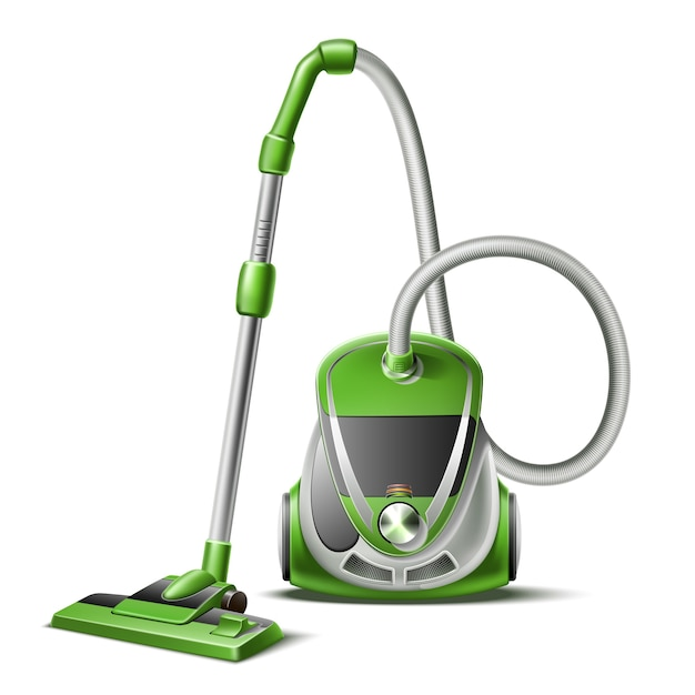 Realistic vacuum cleaner with hose and nozzle 3d icon Premium Vector