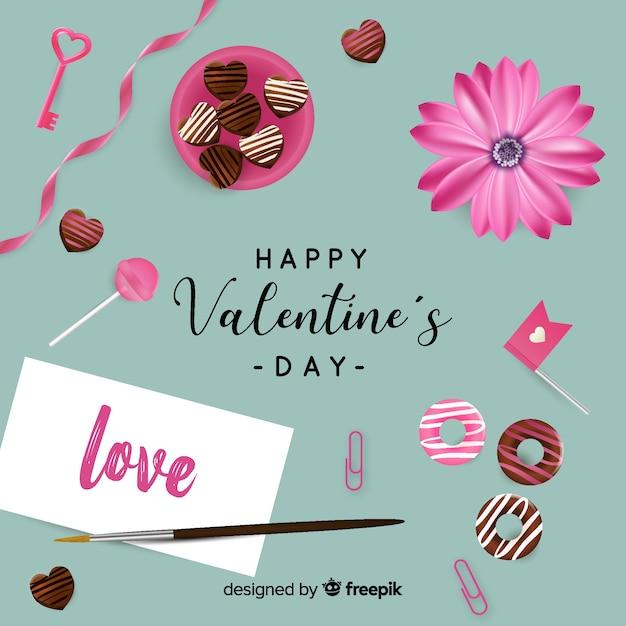 Realistic valentine background Free Vector