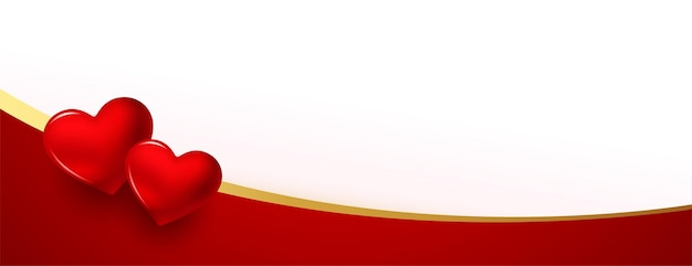 Realistic valentine day lovely banner with text space Free Vector