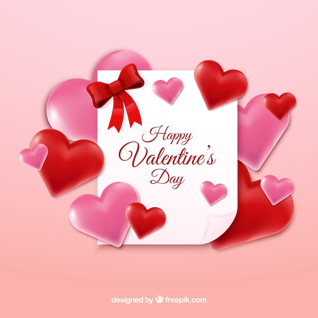Realistic valentine\'s day background with a\ white note