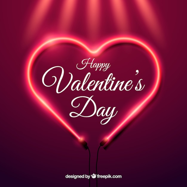 Realistic Valentine S Day Background With Neon Light Vector Free