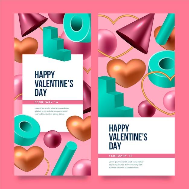 Collezione di banner realistici di san valentino Vettore gratuito