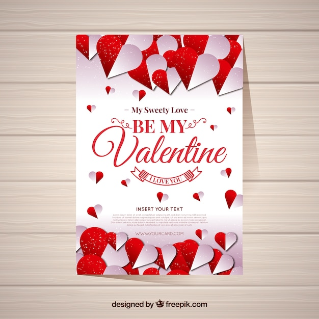 Realistic valentine\'s day card template