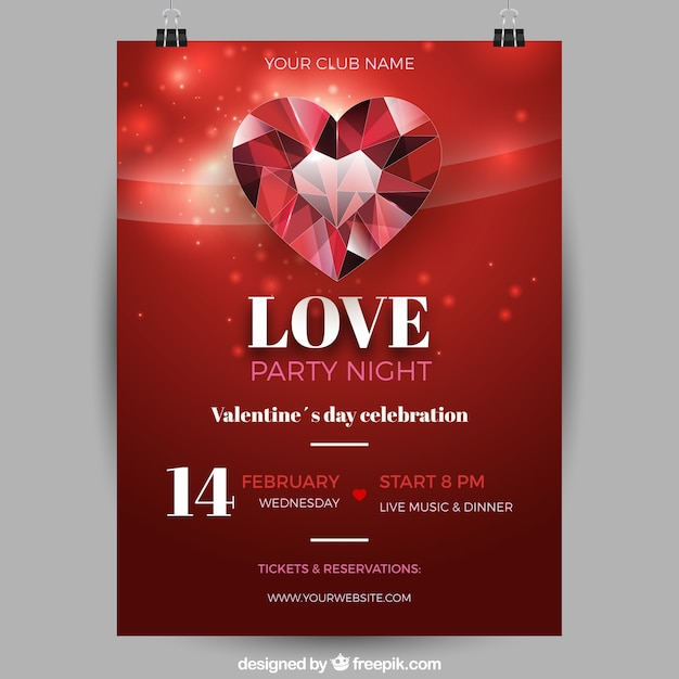 Realistic Valentines Day Flyerposter Template Vector Free Download
