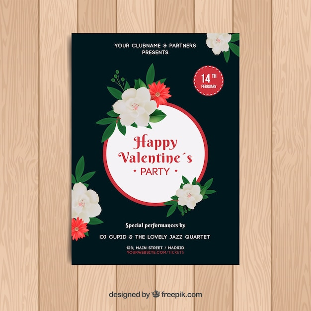 Realistic valentine\'s day flyer/poster