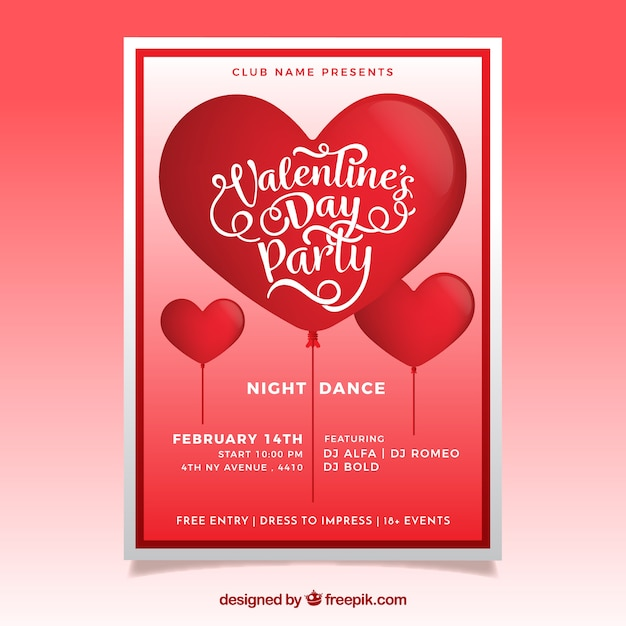 Realistic Valentine S Day Flyer Poster Vector Free Download