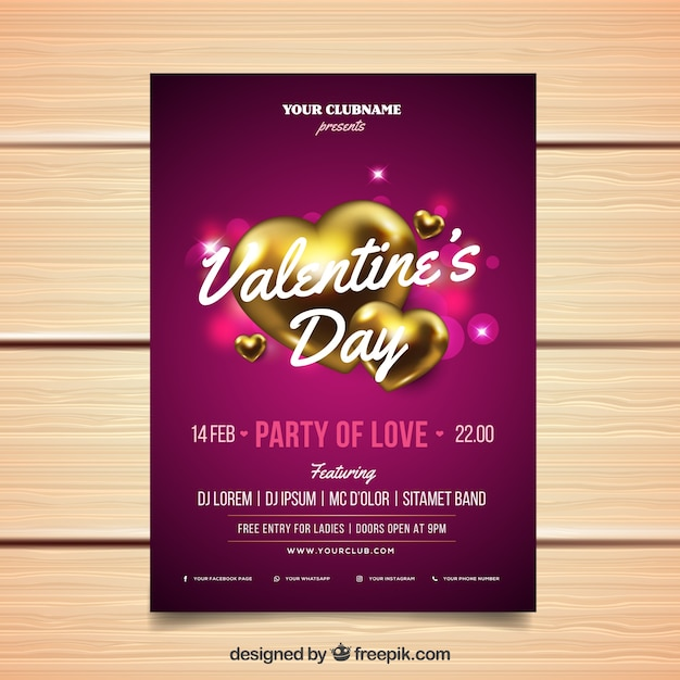 Realistic valentine's day flyer/poster Free Vector