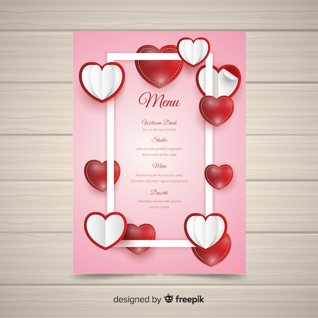Realistic Valentine S Day Menu Template Vector Free Download