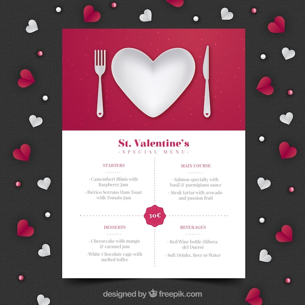 Realistic Valentineu0027s Day Menu Free Vector