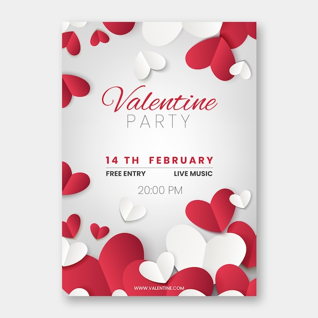 Realistic valentine's day party flyer template Free Vector