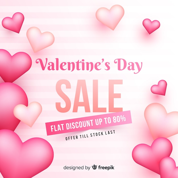 Realistic valentine's day sale background Free Vector