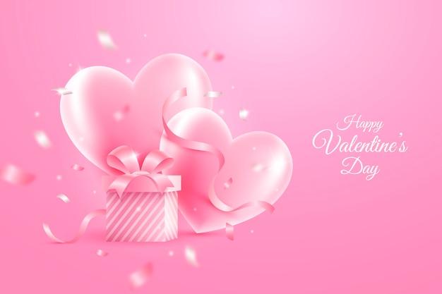 心のあるリアルなバレンタインデーの壁紙 無料ベクター