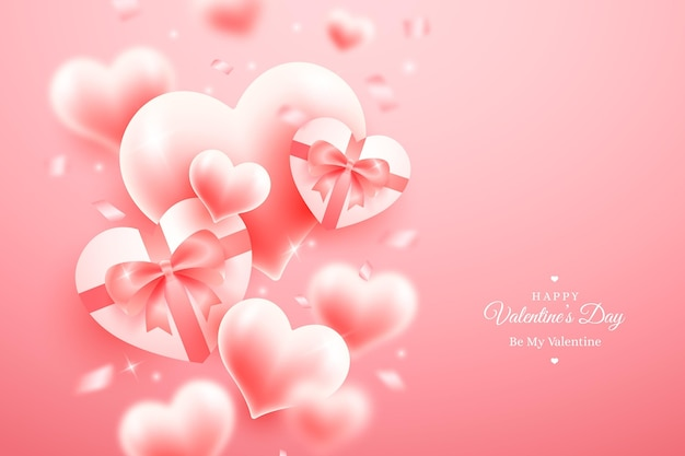 Free Vector Realistic Valentine S Day Wallpaper With Hearts