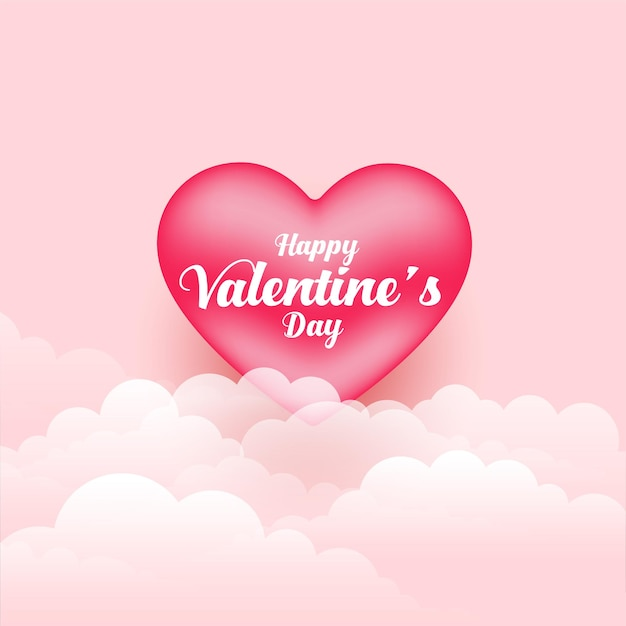 Realistic valentines day 3d heart and clouds Free Vector