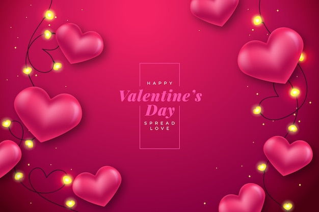 Realistic valentines day background Free Vector