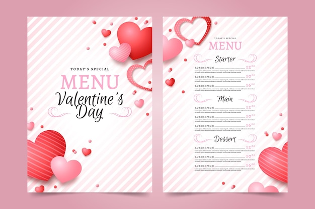 Realistic valentines day menu template Free Vector