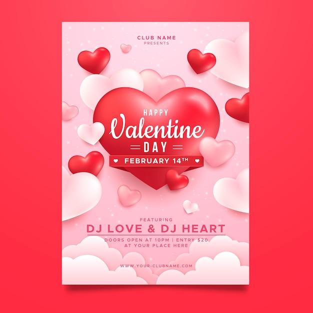 Реалистичный шаблон плаката для вечеринки на день святого валентина Бесплатные векторы
