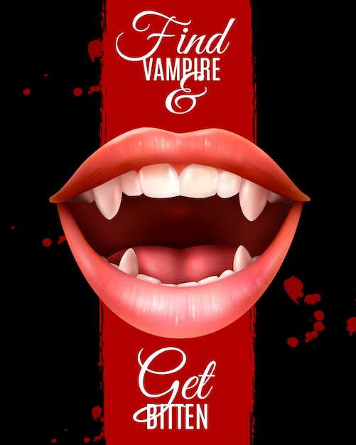Realistic vampire mouth poster Free Vector