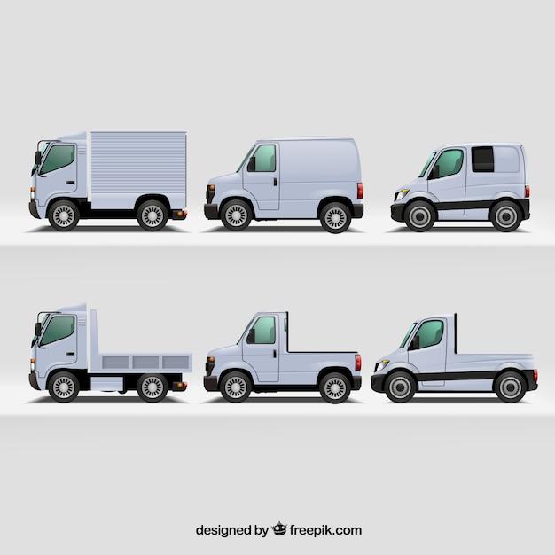 Realistic variety of modern trucks Free Vector