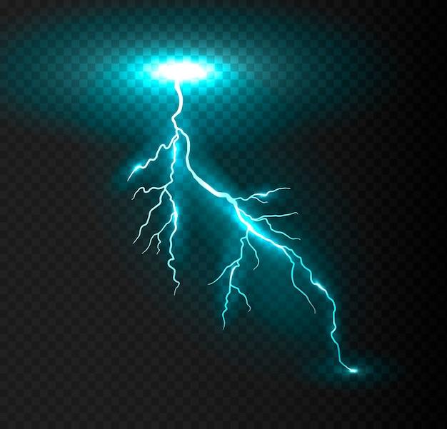 Realistic vector blue lightning. Premium Vector