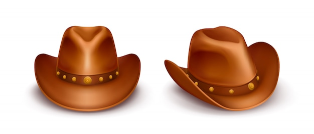 Realistic vector brown leather cowboy hats Free Vector