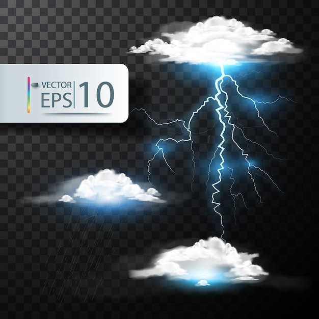 Realistic vector Cloud and lightning, thunder Free Vector