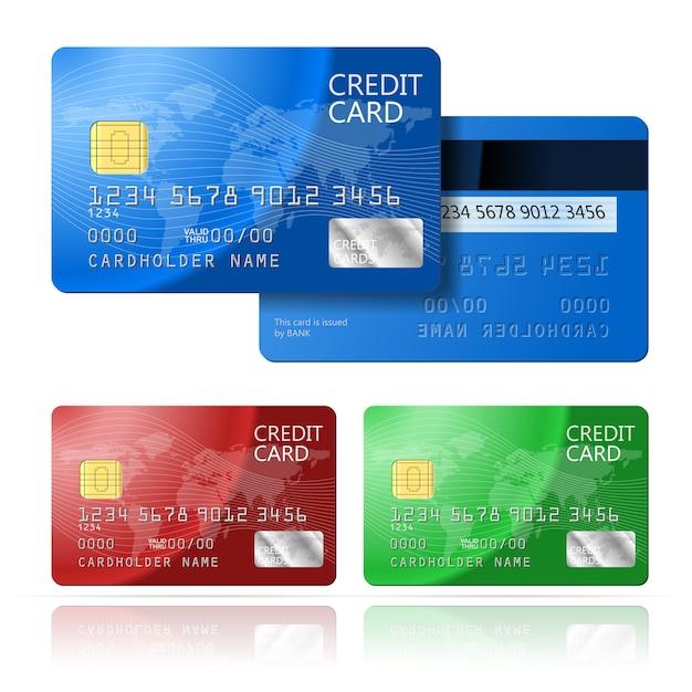 Реалистичные вектор кредитной карты с двух сторон, синий, зеленый, красный Бесплатные векторы