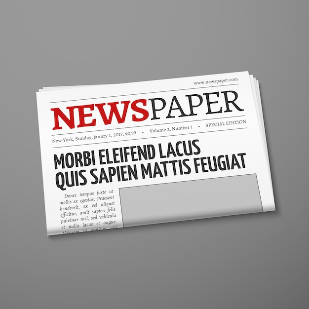 Realistic vector daily newspaper front page Premium Vector
