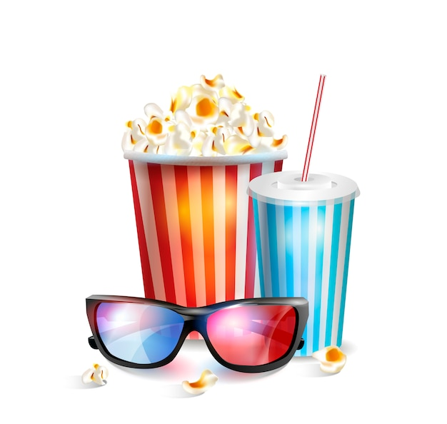 Realistic vector illustration of 3d glasses with popcorn and soda. Premium Vector