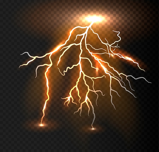 Realistic vector orange lightning. Premium Vector