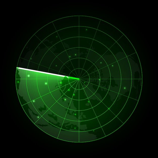 Realistic vector radar in searching. radar screen with the aims Premium Vector