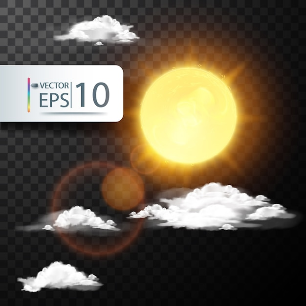 Realistic vector sun and cloud Free Vector