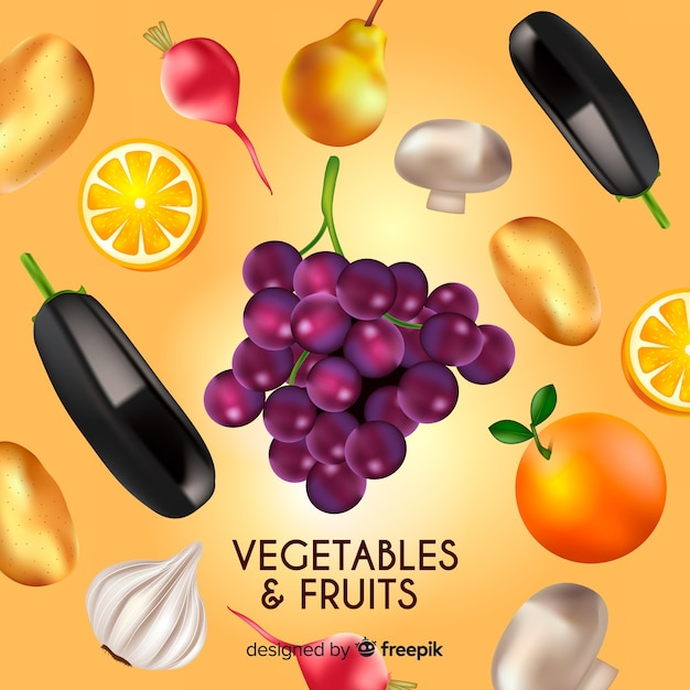Реалистичные овощи и фрукты фон Бесплатные векторы