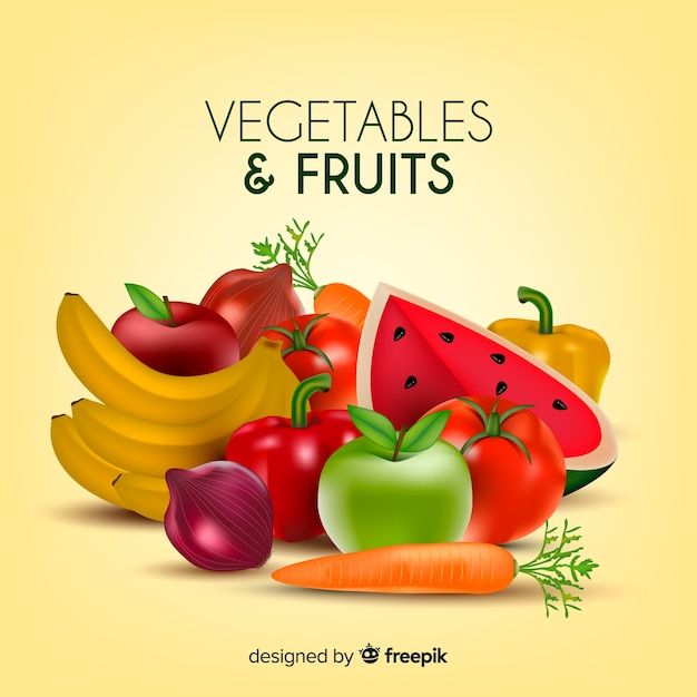 Realistic vegetables and fruits background Free Vector
