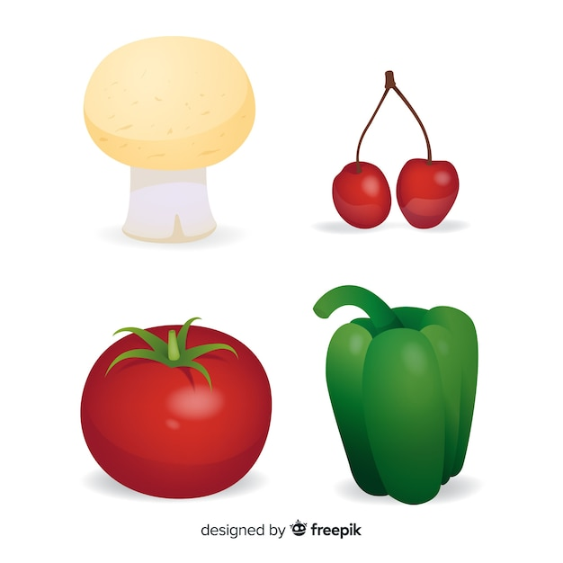 Realistic vegetables and fruits Free Vector