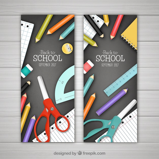 Realistic vertical back to school banners