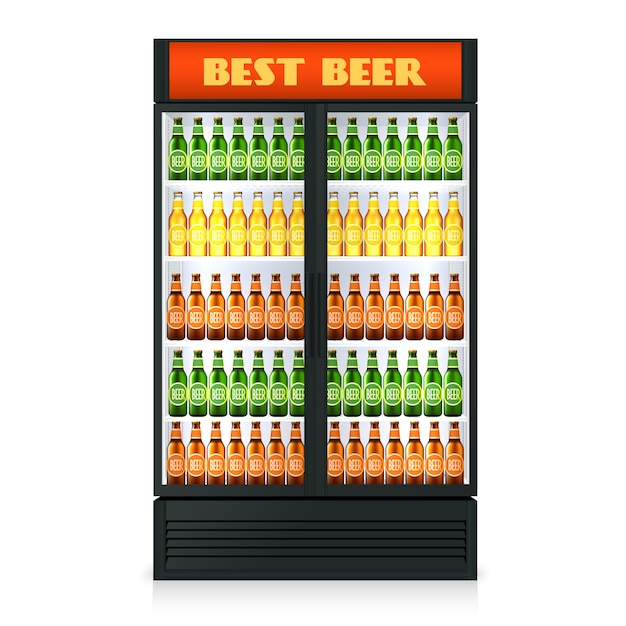 Realistic vertical freezer with transparent closed door and alcoholic drinks Free Vector