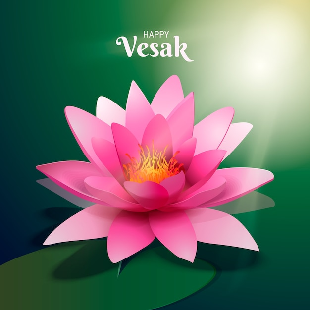 Realistico vesak bellissimo fiore di loto rosa Vettore gratuito