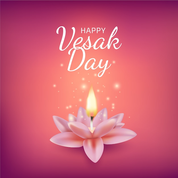 Realistic vesak with candle and lotus flower Free Vector