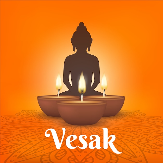 Realistic vesak with candles and buddha Free Vector